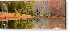 Panorama Of Cabin By The Lake Acrylic Print by Shelby  Young