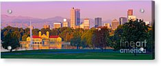 Panorama Of Denver Skyline From Museum Of Nature And Science - City Park Denver Colorado Acrylic Print
