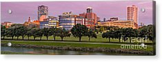 Panorama Of Downtown Fort Worth And Trinity River At Twilight - Dfw North Texas Acrylic Print by Silvio Ligutti