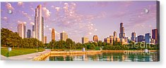Panorama Of South Side Of Chicago Skyline And One Museum Park From Shedd Aquarium - Chicago Illinois Acrylic Print