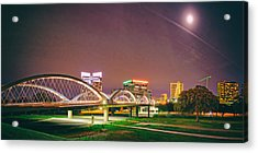 Panorama Of The Seventh Street Bridge And Downtown Fort Worth With Full Moon Above - Trinity River Acrylic Print by Silvio Ligutti