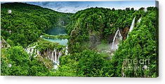 Panorama Of Turquoise Lakes And Waterfalls - A Dramatic View, Plitivice Lakes National Park Croatia Acrylic Print