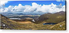 Panorama Of Valleys And Mountains In County Kerry On A Summer Da Acrylic Print by Semmick Photo