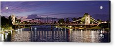Panorama Of Waco Suspension Bridge Over The Brazos River At Twilight - Waco Central Texas Acrylic Print