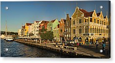 Panorama Of Willemstad Waterfront Curacao Acrylic Print by David Smith