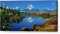 Acrylic Print featuring the photograph Panorama Oxbow Bend Grand Tetons National Park Wyoming by Dave Welling