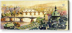 Panorama Prague Briges Acrylic Print by Yuriy  Shevchuk
