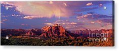 Acrylic Print featuring the photograph Panorama West Temple At Sunset Zion Natonal Park by Dave Welling