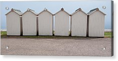 Panoramic Beach Huts Acrylic Print by Helen Northcott