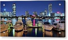 Panoramic Boston Harbor Night View Acrylic Print