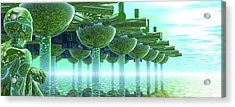 Panoramic Green City And Alien Or Future Human Acrylic Print by Nicholas Burningham