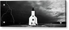 Panoramic Lightning Storm And Prairie Church 2 Acrylic Print