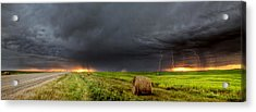 Panoramic Lightning Storm In The Prairies Acrylic Print by Mark Duffy