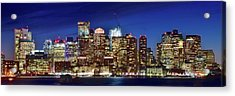 Panoramic Lights On A Boston Night Acrylic Print by Frozen in Time Fine Art Photography