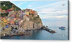 Acrylic Print featuring the photograph Panoramic Manarola Seascape by Frozen in Time Fine Art Photography