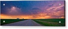 Panoramic Prairie Lightning Storm Acrylic Print by Mark Duffy