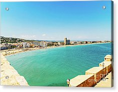 Panoramic Skyline View Of Peniscola City Beach Resort At Mediterranean Sea In Spain Acrylic Print