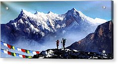 Panoramic View Of Ama Dablam Peak Everest Mountain Acrylic Print