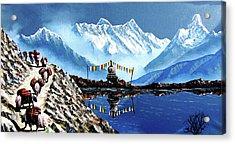 Panoramic View Of Annapurna Mountain Nepal Acrylic Print