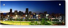 Panoramic View Of Baltimore Beach And Inner Harbor At Twilight Acrylic Print