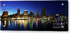 Panoramic View Of Baltimore Inner Harbor Reflections At Twilight Acrylic Print