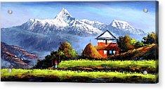 Panoramic View Of Beautiful Everest Mountain Acrylic Print