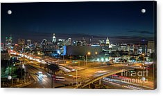 Panoramic View Of Busy Austin Texas Downtown Acrylic Print