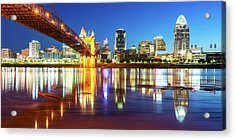 Acrylic Print featuring the photograph Panoramic View Of Cincinnati Ohio - Colorful City Skyline by Gregory Ballos