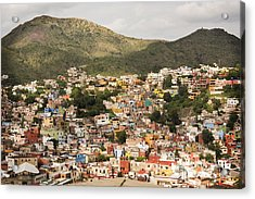 Panoramic View Of Colorful Hillside Homes In Guanajuato Mexico Acrylic Print