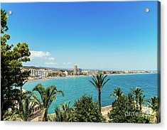 Panoramic View Of Peniscola City Holiday Beach Resort At Mediterranean Sea In Spain Acrylic Print