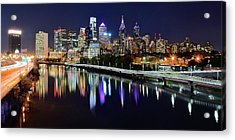 Panoramic View Of Philly Acrylic Print by Frozen in Time Fine Art Photography