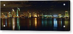 Panoramic View Of San Diego At Night Acrylic Print by George Oze