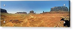 Panoramic View Of The Monument Valley  Acrylic Print by George Oze