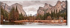 Panoramic View Of Yosemite Valley From Bridal Veils Falls Viewing Point - Sierra Nevada California Acrylic Print