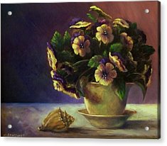 Pansies And Celadon Acrylic Print by Ruth Stromswold