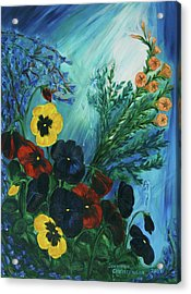 Pansies And Poise Acrylic Print by Jennifer Christenson