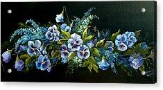 Pansies In Blue On Black Acrylic Print