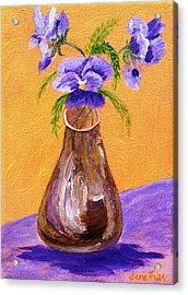 Pansies In Brown Vase Acrylic Print