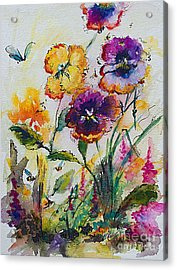 Pansies In My Garden Watercolor And Ink Acrylic Print