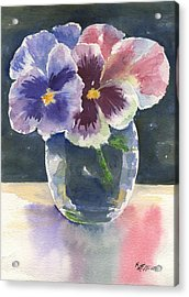 Pansies Acrylic Print by Marsha Elliott