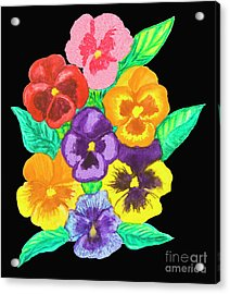 Pansies On Black Acrylic Print by Irina Afonskaya