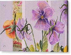 Pansies On My Porch Acrylic Print by Mary Ellen Mueller Legault