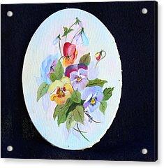 Pansies Posing Acrylic Print by Alanna Hug-McAnnally
