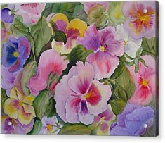 Pansies Too Acrylic Print by Vivian Larson