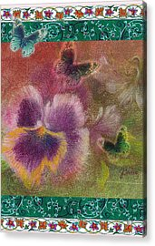 Pansy Butterfly Asianesque Border Acrylic Print