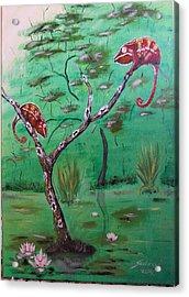 Panther Chameleons On The Lake Acrylic Print by Judit Szalanczi
