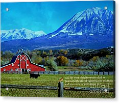 Paonia Mountain And Barn Acrylic Print by Annie Gibbons