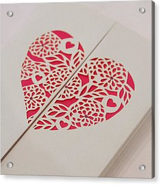 Paper Cut Heart Acrylic Print