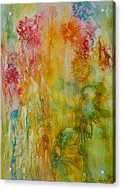 Paper Flowers Acrylic Print by Rosie Brown