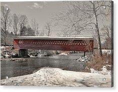 Paper Mill Village Bridge Acrylic Print by JAMART Photography